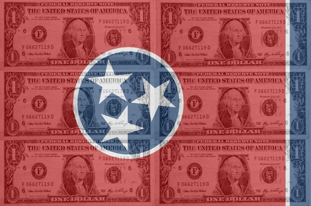 transparent united states of america state flag of tennessee with dollar currency in background symbolizing political, economical and social government photo