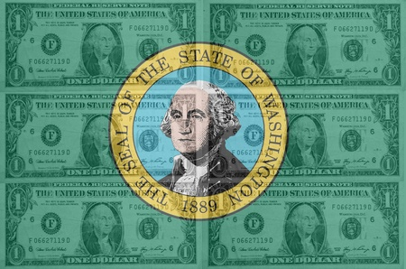 indebtedness: transparent united states of america state flag of west washington with dollar currency in background symbolizing political, economical and social government Stock Photo