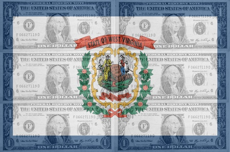 indebtedness: transparent united states of america state flag of west virginia with dollar currency in background symbolizing political, economical and social government