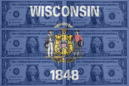 indebtedness: transparent united states of america state flag of wisconsin with dollar currency in background symbolizing political, economical and social government