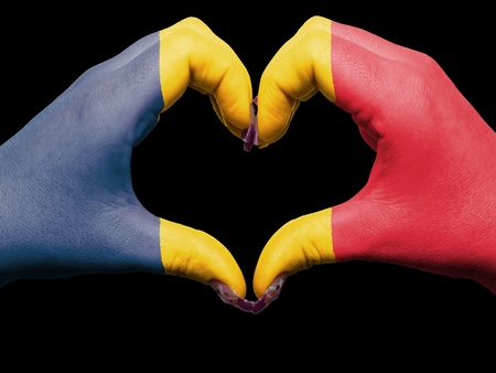 chadian: Tourist made gesture  by chad flag colored hands showing symbol of heart and love Stock Photo