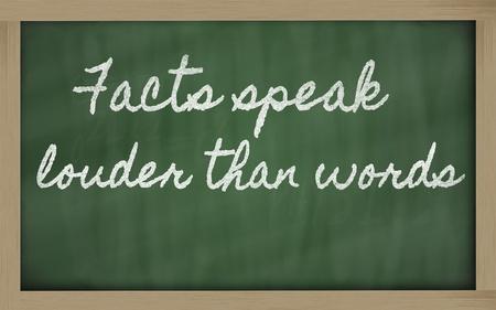 louder: handwriting blackboard writings - Facts speak louder than words
