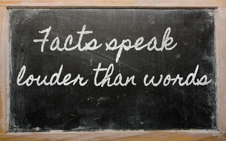 prudent: handwriting blackboard writings - Facts speak louder than words