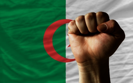 algerian flag: complete national flag of algeria covers whole frame, waved, crunched and very natural looking. In front plan is clenched fist symbolizing determination