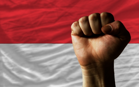 complete national flag of indonesia covers whole frame, waved, crunched and very natural looking. In front plan is clenched fist symbolizing determination Standard-Bild