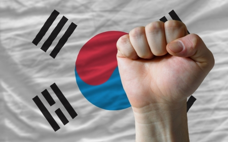 complete national flag of south korea covers whole frame, waved, crunched and very natural looking. In front plan is clenched fist symbolizing determination Stock Photo
