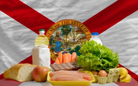 consumerism: complete american state flag of florida covers whole frame, waved, crunched and very natural looking. In front plan are fundamental food ingredients for consumers, symbolizing consumerism an human needs