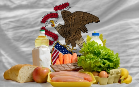 consumerism: complete american state flag of illinois covers whole frame, waved, crunched and very natural looking. In front plan are fundamental food ingredients for consumers, symbolizing consumerism an human needs Stock Photo