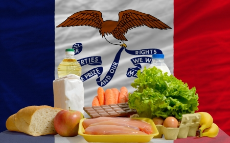 consumerism: complete american state flag of iowa covers whole frame, waved, crunched and very natural looking. In front plan are fundamental food ingredients for consumers, symbolizing consumerism an human needs