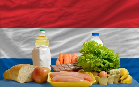 complete national flag of netherlands covers whole frame, waved, crunched and very natural looking. In front plan are fundamental food ingredients for consumers, symbolizing consumerism an human needs photo