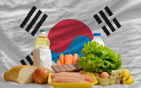 complete national flag of south korea covers whole frame, waved, crunched and very natural looking. In front plan are fundamental food ingredients for consumers, symbolizing consumerism an human needs photo