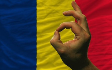 chadian: man showing excellence or ok gesture in front of complete wavy chad national flag of  symbolizing best quality, positivity and succes