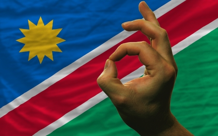 man showing excellence or ok gesture in front of complete wavy namibia national flag of  symbolizing best quality, positivity and succes Stock Photo - 14428213