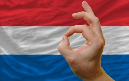 man showing excellence or ok gesture in front of complete wavy netherlands national flag of  symbolizing best quality, positivity and succes photo