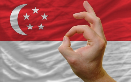 man showing excellence or ok gesture in front of complete wavy singapore national flag symbolizing best quality, positivity and succes