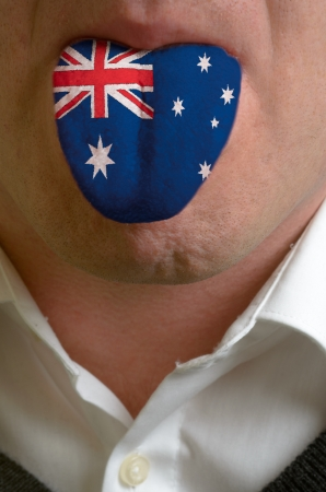 Man Wit Open Mouth Spreading Tongue Colored In Australia Flag As Symbol Of Values Like Teaching Learning Multilingual Speaking Different Languages