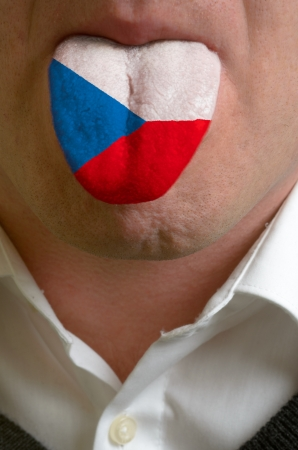 man wit open mouth spreading tongue colored in czech flag as symbol of values like teaching, learning, multilingual speaking of different languages Stock Photo - 15002763
