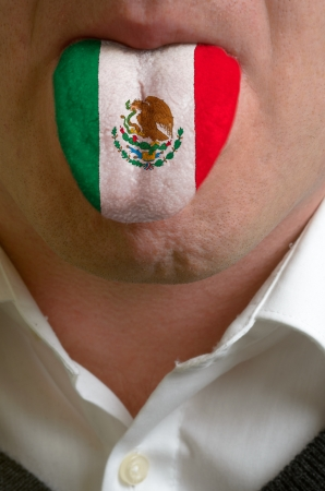 man wit open mouth spreading tongue colored in mexico flag as symbol of values like teaching, learning, multilingual speaking of different languages Stock Photo - 15002843