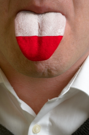 man wit open mouth spreading tongue colored in poland flag as symbol of values like teaching, learning, multilingual speaking of different languages Stock Photo - 15002767
