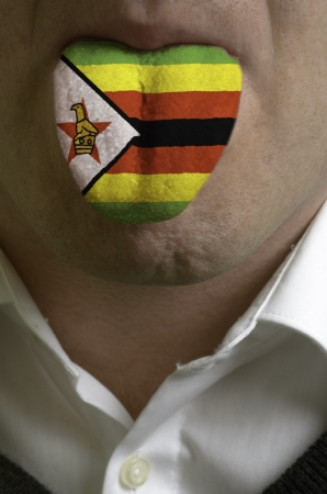 man wit open mouth spreading tongue colored in zimbabwe flag as symbol of values like teaching, learning, multilingual speaking different of languages Stock Photo - 15002742