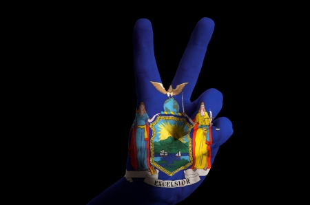 Hand With Two Finger Up Gesture In Colored New York Oklahoma Stock