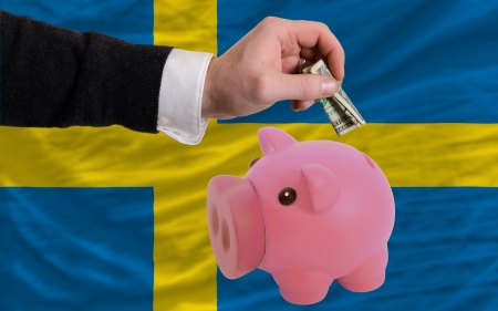 foreign national: Man putting dollar into piggy rich bank national flag of sweden in foreign currency because of inflation Stock Photo