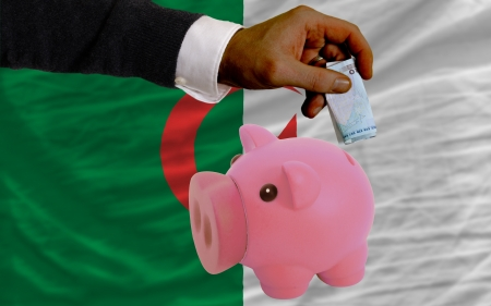 foreign national: Man putting euro into piggy rich bank and national flag of algeria in foreign currency because of insecurity and inflation Stock Photo