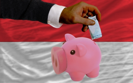 foreign national: Man putting euro into piggy rich bank and national flag of indonesia in foreign currency because of insecurity and inflation