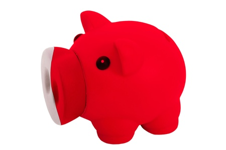 bahrain money: piggy rich bank in colors national flag of bahrain for savings on white background