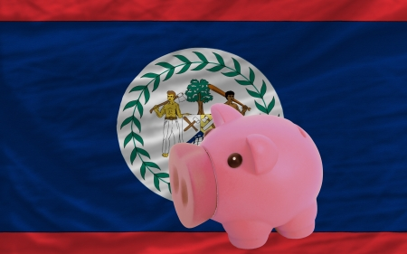 piktogramm: Piggy rich bank in front of national flag of belize symbolizing saving and accumulating funds as good financial habit Stock Photo