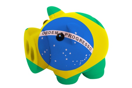 piggy rich bank in colors national flag of brazil for savings on white background Stock Photo - 18127140