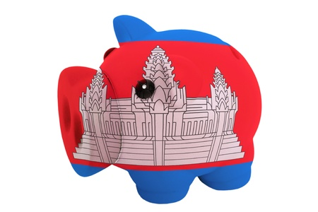piggy rich bank in colors national flag of cambodia for savings on white background photo