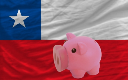 accumulating: Piggy rich bank in front of national flag of canada symbolizing saving and accumulating funds as good financial habit Stock Photo