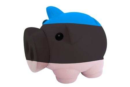 estonian: piggy rich bank in colors national flag of estonia for savings on white background