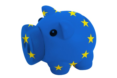 piggy rich bank in colors national flag of europe for savings on white background photo