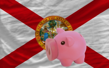 accumulating: Piggy rich bank in front of flag of us state of florida symbolizing saving and accumulating funds as good financial habit