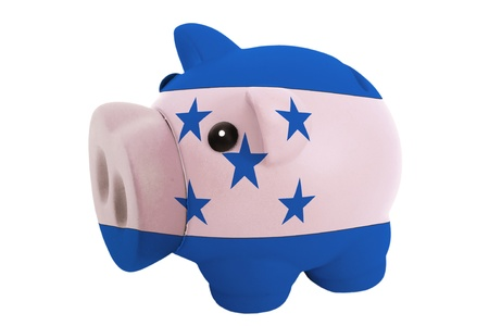 piggy rich bank in colors national flag of honduras for savings on white background photo
