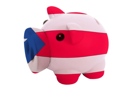puertorico: piggy rich bank in colors national flag of puertorico for savings on white background Stock Photo