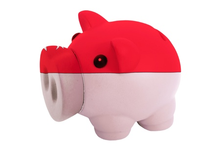 piggy rich bank in colors national flag of singapore for savings on white background