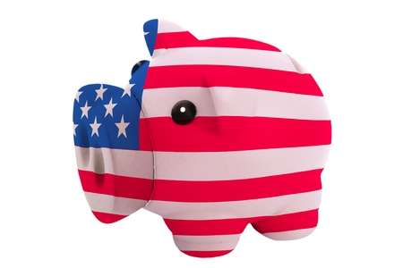 piggy rich bank in colors national flag of us for savings on white background photo