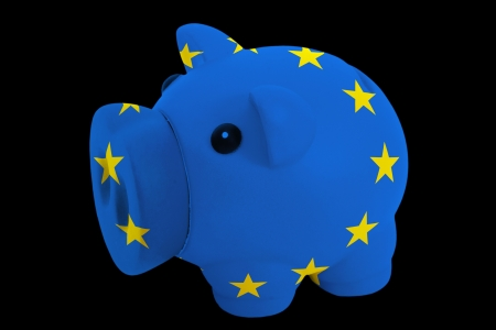 piggy rich bank in colorsnational flag of europefor saving money on black background photo