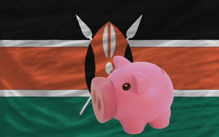 piktogramm: Piggy rich bank in front of national flag of kenya symbolizing saving and accumulating funds as good financial habit