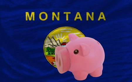 accumulating: Piggy rich bank in front of flag of us state of montana symbolizing saving and accumulating funds as good financial habit