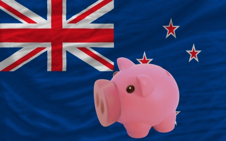 accumulating: Piggy rich bank in front of national flag of new zealand symbolizing saving and accumulating funds as good financial habit Stock Photo