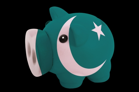 piggy rich bank in colorsnational flag of pakistanfor saving money on black background photo