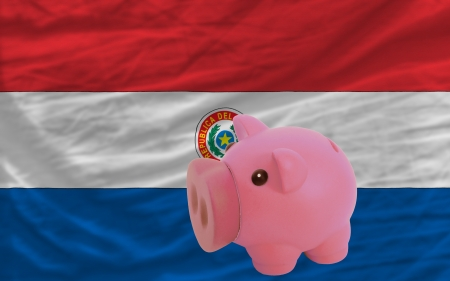 accumulating: Piggy rich bank in front of national flag of paraguay symbolizing saving and accumulating funds as good financial habit