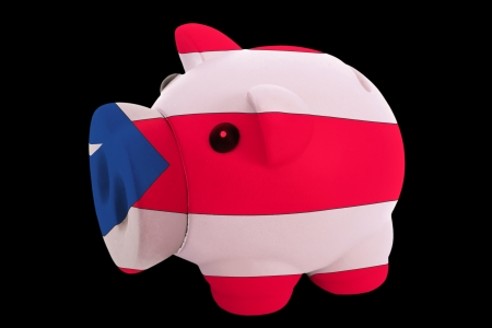 piggy rich bank in colorsnational flag of puertoricofor saving money on black background