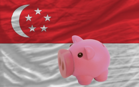 accumulating: Piggy rich bank in front of national flag of singapore symbolizing saving and accumulating funds as good financial habit
