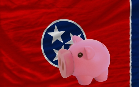 accumulating: Piggy rich bank in front of flag of us state of tennessee symbolizing saving and accumulating funds as good financial habit
