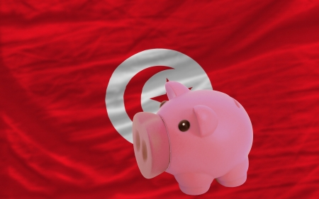 piktogramm: Piggy rich bank in front of national flag of tunisia symbolizing saving and accumulating funds as good financial habit Stock Photo